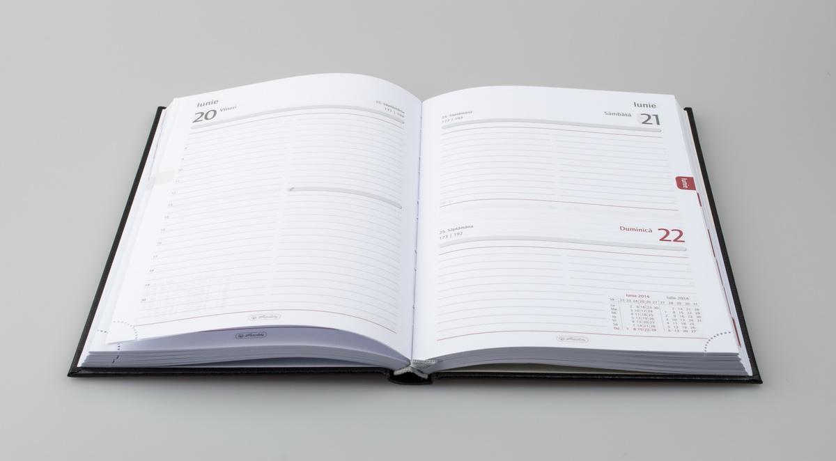 Agenda Herlitz datata 2018, RO A5, 352 pagini, culoare Neagra