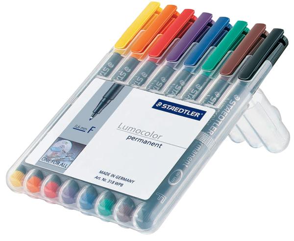 Marker permanent OHP Staedtler Lumocolor grosime F cutie 318 WP 8 culori