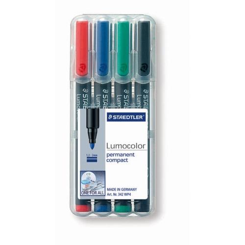 Marker Staedtler Lumocolor ST-352-WP4 permanent, 4/set (R, N, A, V)