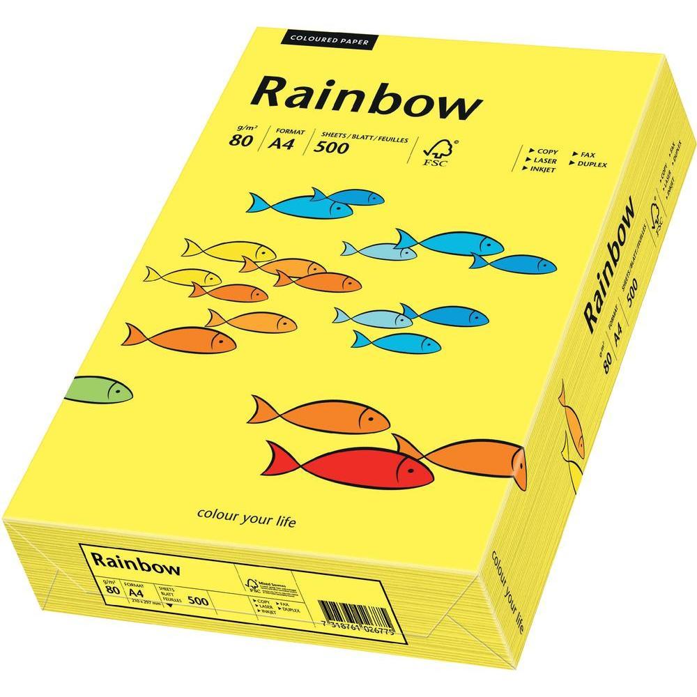 Hartie color RAINBOW  , A4, 80 g/mp, 500 coli/top, Galben Intensiv (Intensive Yellow)