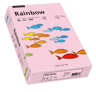 Hartie color RAINBOW  , A4, 80 g/mp, 500 coli/top,  Roz Deschis (Light Pink)