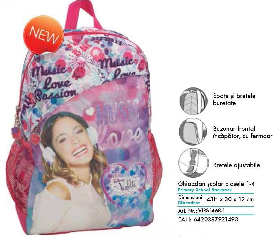 Ghiozdan scolar Violetta pentru clasa 1-4 Pigna model VIRS1468-1