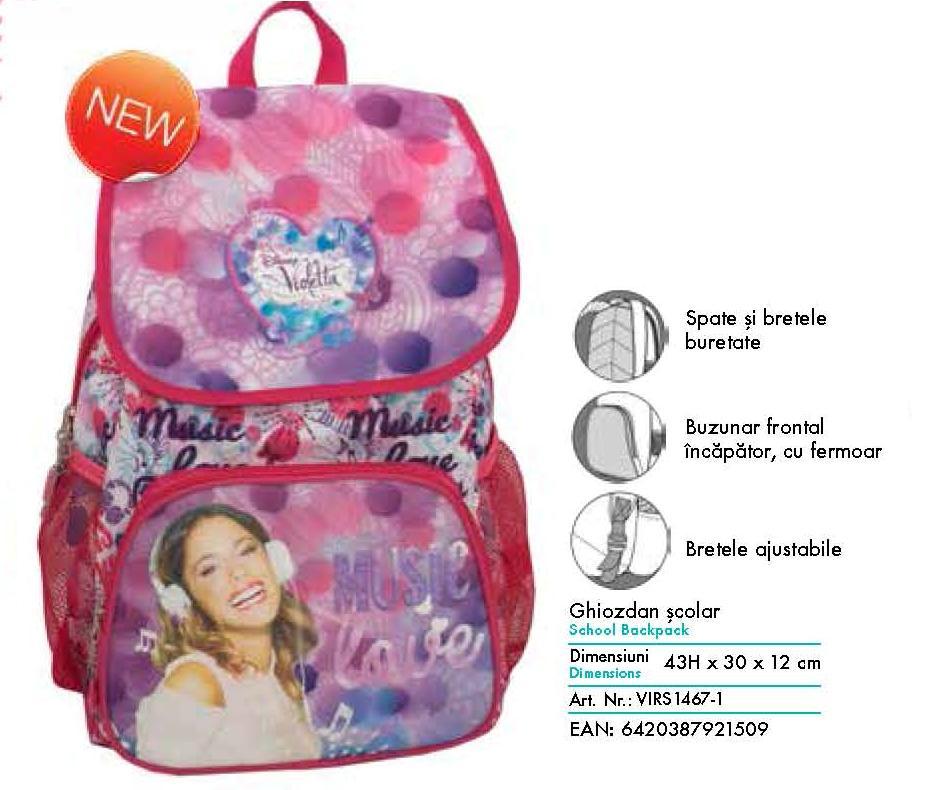 Ghiozdan scolar Violetta pentru clasa 1-4 Pigna model VIRS1469-1