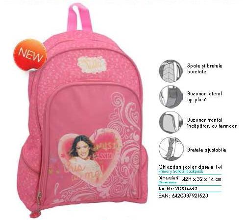 Ghiozdan scolar Violetta pentru clasa 1-4 Pigna model VIRS1466-2