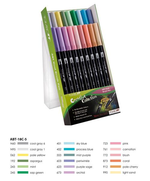 Pastel Colours  Tombow ABT Dual Brush Pen Set 18 Colours