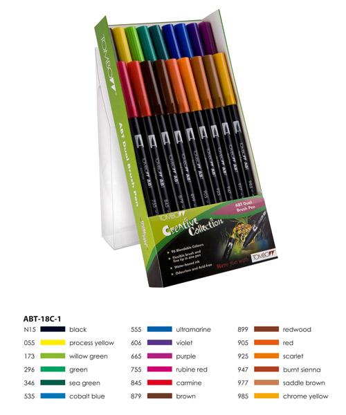 Primary Colours  Tombow ABT Dual Brush Pen Set 18 Colours