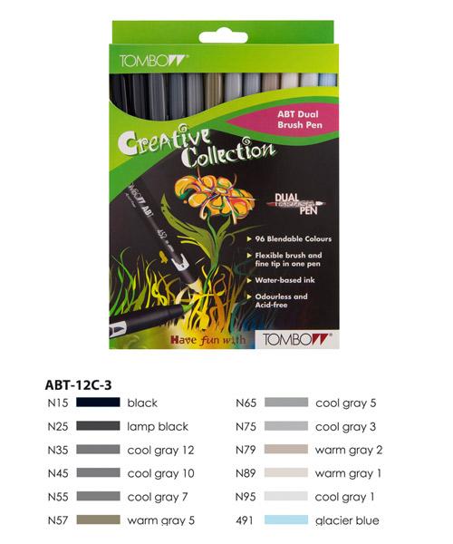 Grey Colours  Tombow ABT Dual Brush Pen Set 12 Colours