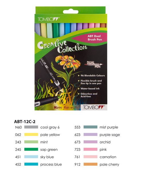 Pastel Colours  Tombow ABT Dual Brush Pen Set 12 Colours
