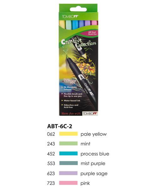 Pastel Colours  Tombow ABT Dual Brush Pen Set 6 Colours