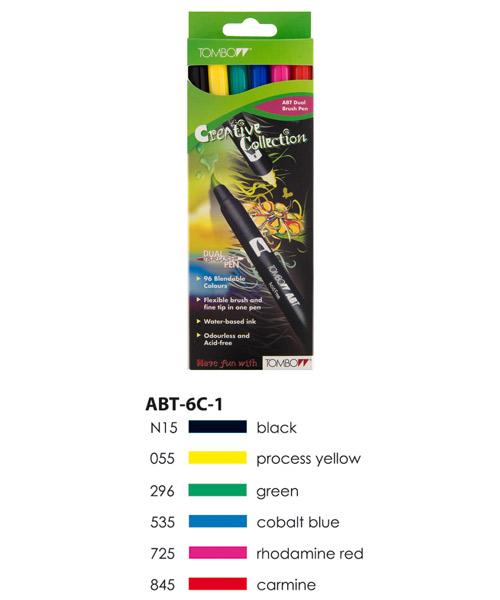 Primary Colours  Tombow ABT Dual Brush Pen Set 6 Colours