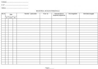 Registru bani personali A4
