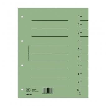 Separatoare carton manila 250g/mp, 300 x 240mm, 100/set, DONAU - verde