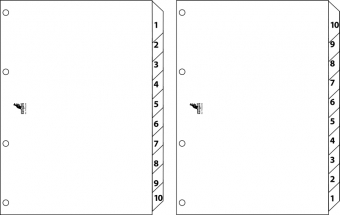 Index reversibil numeric 1-10/10-1, A4, carton alb 190g/mp, KANGARO Easy Move