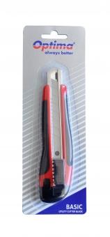 Cutter basic Optima, lama 18mm SK7, sina metalica, ABS cu rubber grip