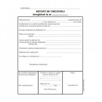 Decont de cheltuieli, format A5, 100 coli/carnet