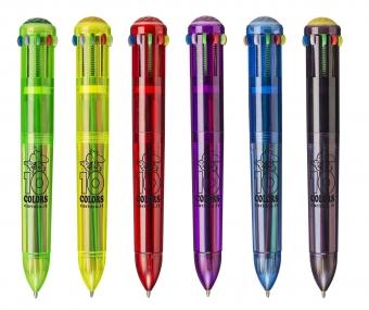 Pix cu 10 culori fluorescente, corp transparent color, CARIOCA