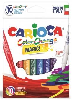 Carioca lavabila, varf gros 6mm,  9 culori+1 magic marker/cutie, CARIOCA Color Change