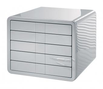 Suport plastic cu 5 sertare pentru documente, HAN iBox - argintiu