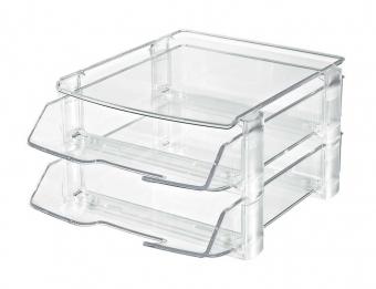 Set 2 tavi documente + 1 suport telefon fix, cu distantiere, HAN Wave - transparent cristal