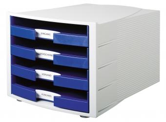 Suport plastic cu 4 sertare pentru documente, HAN Impuls (open) - gri deschis/albastru