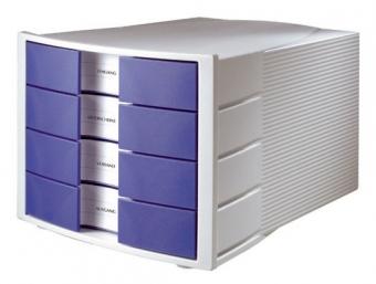 Suport plastic cu 4 sertare pentru documente, HAN Impuls - gri deschis/albastru