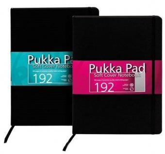 Caiet lux cu elastic, coperti soft, A4 - 96 file, 80g/mp, PUKKA - negru - dictando - hartie crem