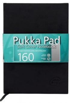 Caiet lux, coperti soft, B5 - 80 file, 100g/mp, PUKKA - negru - dictando - hartie alba