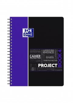 Caiet cu spirala A4+, OXFORD Student Projectbook, 100 file-90g/mp, 4 perf., coperta PP - dictando